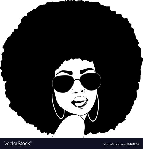 Afro vectors and psd free download. African american woman silhouette afro portrait Vector Image