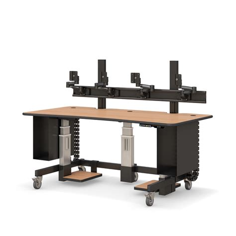 large adjustable height desk height adjustable standing workstation with multi monitors