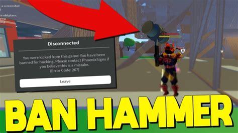 rare ban hammer   banned  strucid roblox