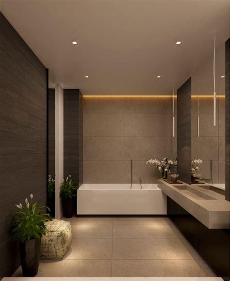 Moderne Luxus Badezimmer by Luxury Bathroom With No Windows Subtle Lighting