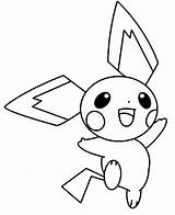 Pichu Coloring Happy Pokemon Pikachu Jumping Around Colorluna Template Credit Sketch Larger Getcoloringpages Getdrawings Luna sketch template