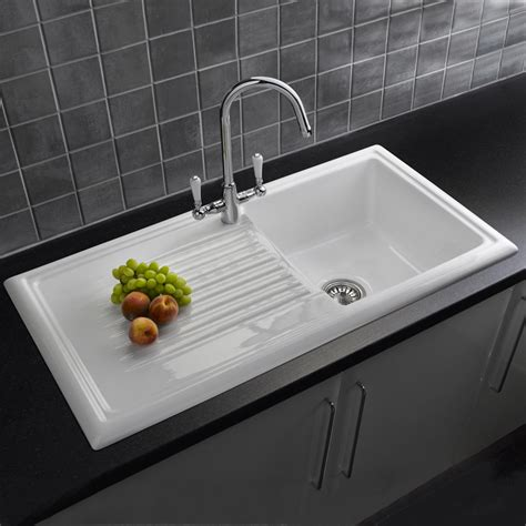 porcelain kitchen sinks reginox 1 0 bowl white ceramic kitchen sink waste tap pack 1590