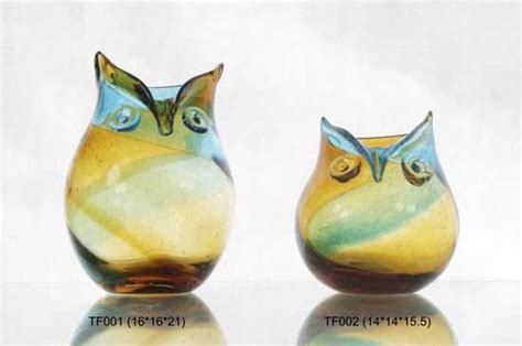 mouth blown glass owl