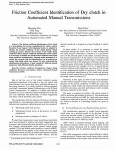 Pdf  Friction Coefficient Identification Of Dry Clutch In