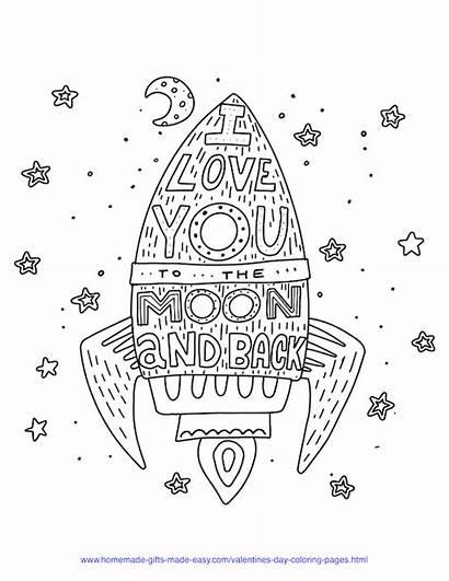 Coloring Valentine Moon Printables Valentines Pdf Easy