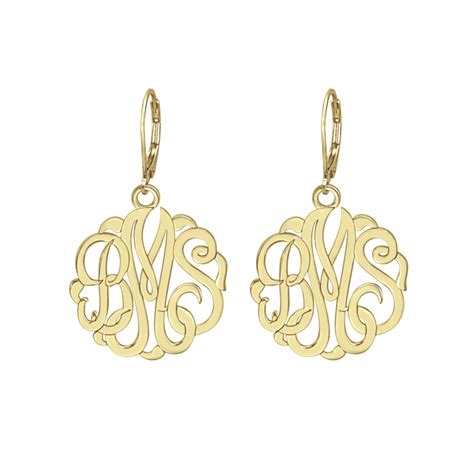 classic monogram leverback earrings mm personalized jewelry