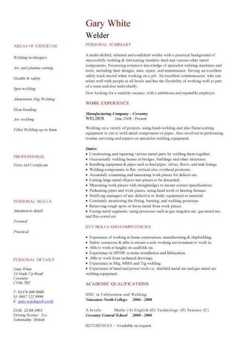 Welding Description Resume by Construction Cv Template Description Cv Writing