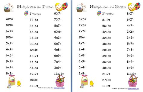 Free Easter Multiplication And Division Worksheets  Homeschool Den