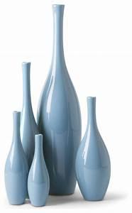 Bliss Modern Tulip French Blue Ceramic Vases - Set of 5