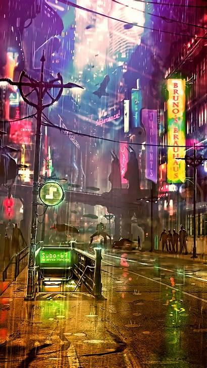 Cyberpunk Futuristic 4k Neon Street Artwork Artist