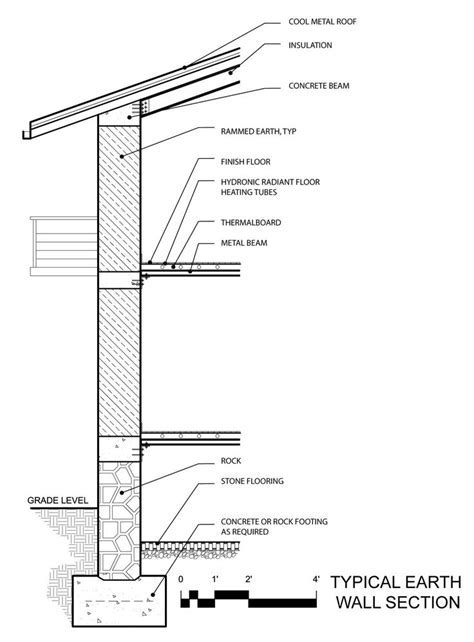 rammed earth wall to roof section detail   Google Search