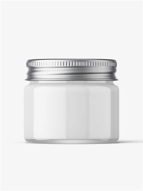 Metal cosmetic jar for cream, scrub, gel, powder. Cosmetic jar mockup with silver cap / 15ml / cream ...