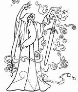 Merlin Wizard Coloring Pages Getcolorings Adults Printable Oz Pu Magic Into Wiz sketch template