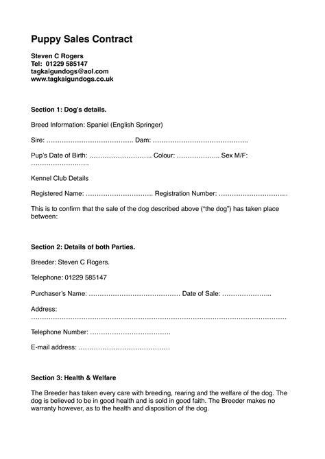 dog sale contract templates  allbusinesstemplatescom