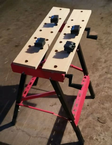 folding portable work stand bench red  horse clamp vise ebay
