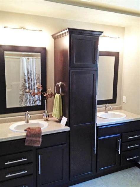 bathroom sink split  beautiful linen closet  home