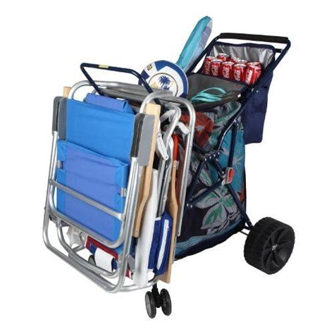 folding cart with cooler color blue large wheels