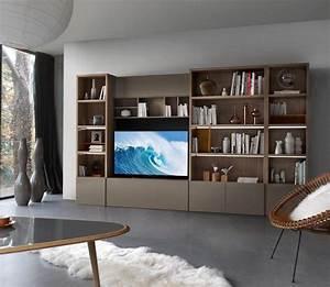 Meuble De Rangement Salon : meuble salon en bois blanc ~ Dailycaller-alerts.com Idées de Décoration