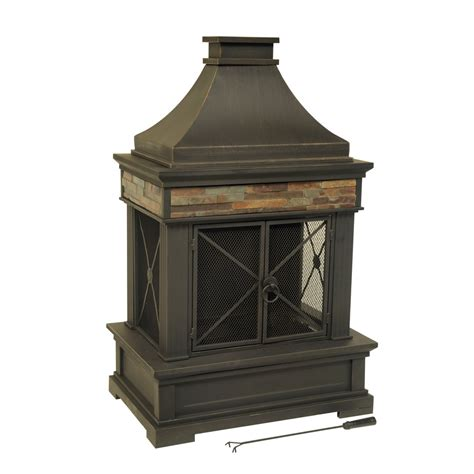 Allen + Roth Brown Steel Outdoor Woodburning Fireplace At