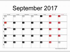 Blank Printable September 2017 Calendar Printable 2017