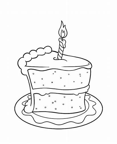 Coloring Cake Birthday Pages Slice Clipart Drawing