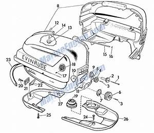 Evinrude Motor Cover Parts For 1958 5 5hp 5516 Outboard Motor