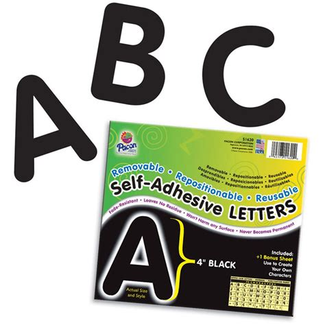 self adhesive letters self adhesive letter 4in black pac51620 pacon