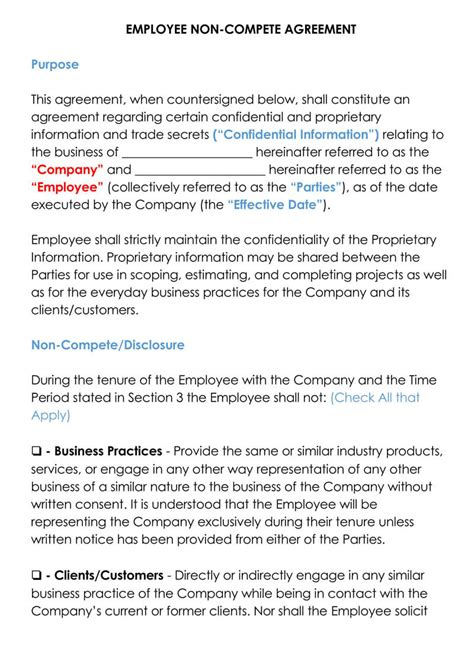 employee  compete agreement templates word