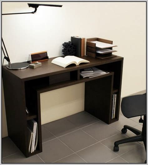 Narrow Computer Desk With Shelves by Computer Desk With Shelves Above Desk Home Design