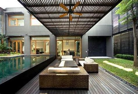minimalist garden design  pool model home interior design ideas