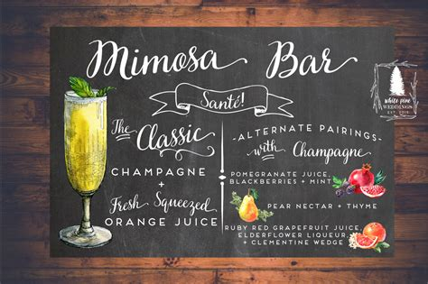 printable mimosa bar sign mimosa sign rustic drink sign