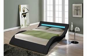 Lit double king size noir 180 cm avec sommier et bande led for Luminaire chambre enfant avec matelas king size