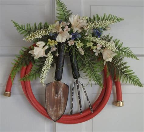 Country Primitive Garden Hose Wreath Decorated With Artificial