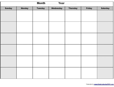 blank monthly calendar template monthly schedule template cyberuse