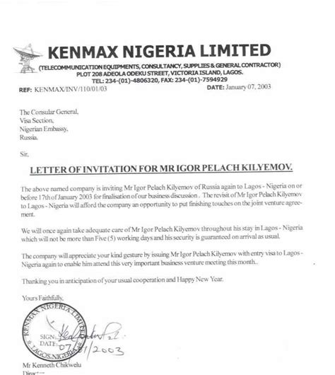invitation letter  nigeria letters  sample letters