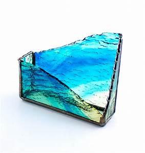 Unique, Desktop, Business, Card, Holder, Blue, Gold, Stained, Glass