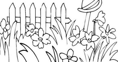 mewarnai gambar taman bunga kartun mewarnai