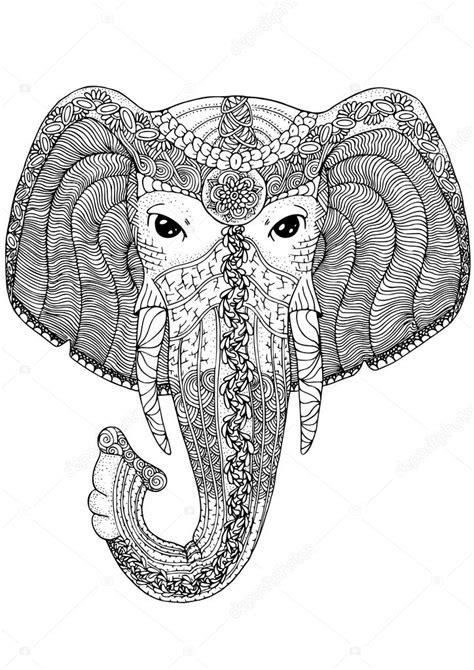 boek kleurplaat voor volwassenen olifant stockvector