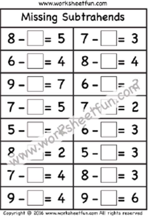 Subtraction  1 Digit  Free Printable Worksheets Worksheetfun