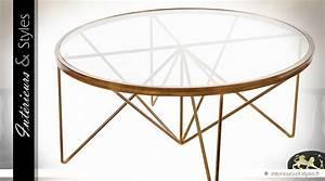 Table Basse Dorée : table basse design finition dor e et plateau verre tremp int rieurs styles ~ Teatrodelosmanantiales.com Idées de Décoration