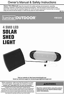 Manual For The 62549 Solar Shed Light