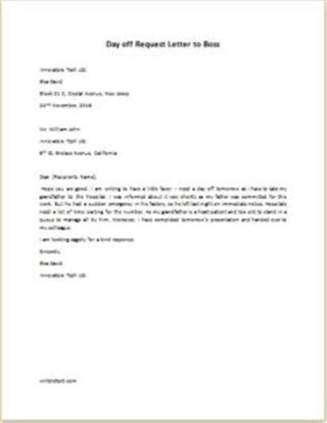 day  request letter  boss writelettercom
