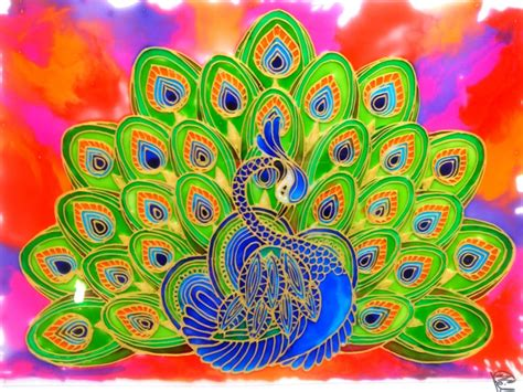 Creative Gold Peacock Large Wall Clock Metal Living Room: PEACOCK GLASS PAINTING