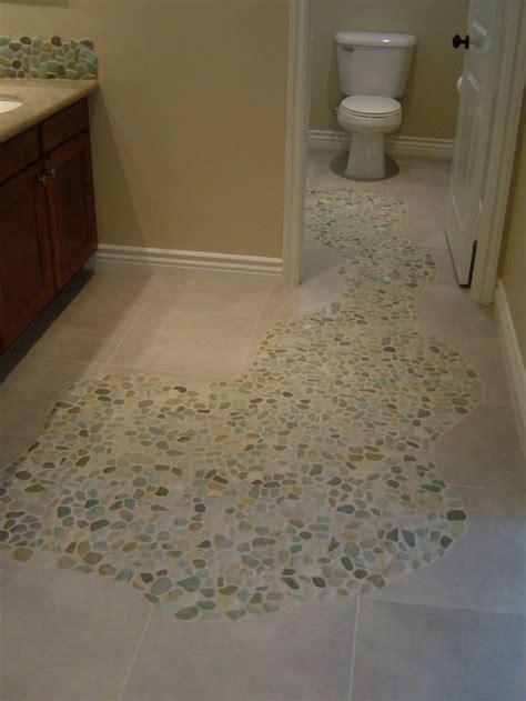 sliced sea green  white pebble tile mosaic floors