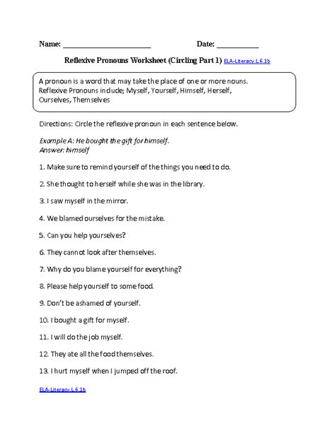 6th Grade Common Core  Language Worksheets