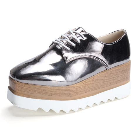 2018 womens creepers platform lace up wedge oxfords chunky