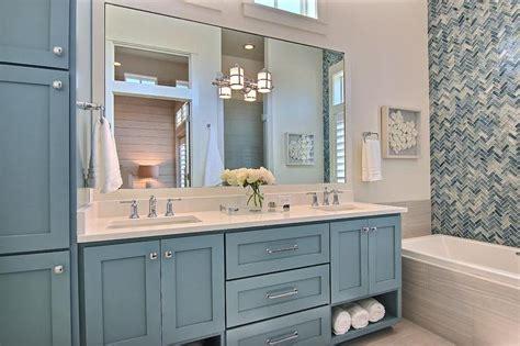 blue bathroom vanity cabinet light blue washstand with gray glass backsplash tiles