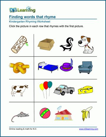 matching pictures that rhyme worksheets k5 learning 905 | kindergarten rhyming circle pictures that rhyme 1
