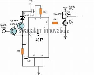 simple touch switch circuit using ic 4017 With simple ic circuits