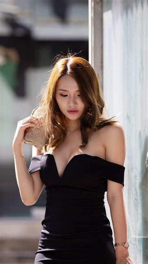 Download Asian Model Black Dress Photoshoot Free Pure K Ultra Hd Mobile Wallpaper
